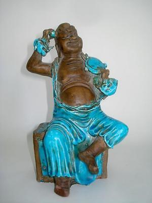 Antique Chinese Pottery Buddha Lohan Figure Turquoise Glaze Qing 18/19Th Cent