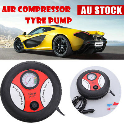 12V Mini Portable Electric Tire Air Compressor Car Auto Inflator 260PSI Pump AU