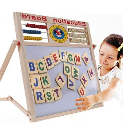 Kid Magnetic Learning Writing Drawing Board Wooden Educational Toy Puzzle AU