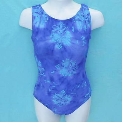 Gymnastics Leotard Girls sz CL Child 10 periwinkle purple turquoise floral ca