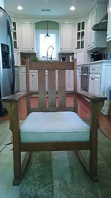 Antique Early 1900's Mission Oak Rocking Chair