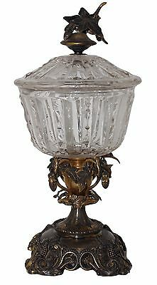 Antique COMPOTE Pedestal Hollywood Regency Crystal Glass Brass/Bronze Patina IVY