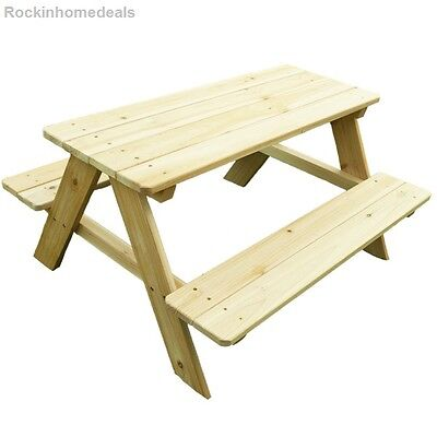 Kids Wood Picnic Table Outdoor Patio Child Size Furniture Bench Yard Ages 3-6