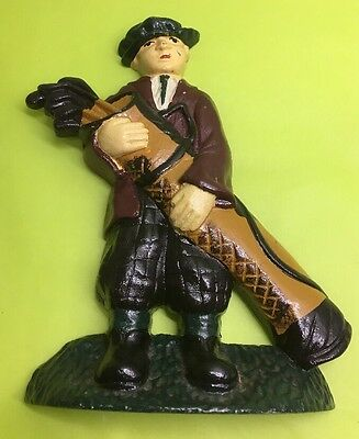"""Cast Iron Colorful Golfer Door Stop. 8"""" Tall . Nice Details"""