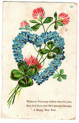 Vintage Christmas Postcard - Floral heart wreath, printed in Germany