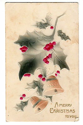Vintage Christmas Postcard - Mistletoe and bells - printed in Germany