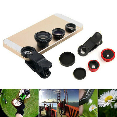 New 3 in1 Fish Eye+Wide Angle+Macro Camera Clip-on Lens for iPhone 7/6/Plus/5S/5