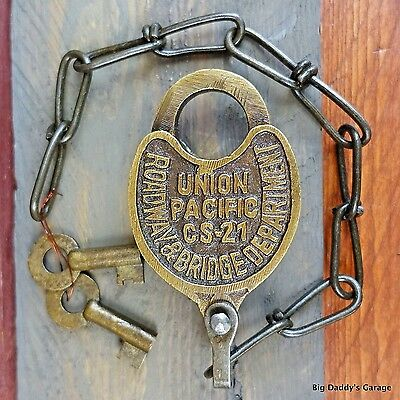 Union Pacific Railroad Working Lock, Solid Brass Antique Finish, Trains Railway