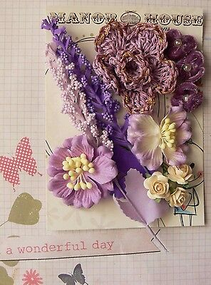 PAPER & VELVET 6 Mixed Styles AMETHYST PURPLE CREAM 5Tones 11 Flowers 20-65mm H2