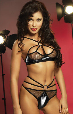 Virginie Irall Erotic Line Set BH String Dessous Unterwäsche Wäsche-Set Latex