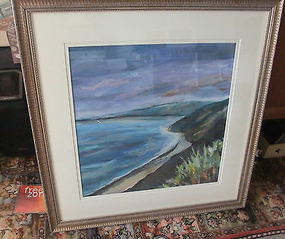 Original Claire Western mixed media painting of North Devon coast