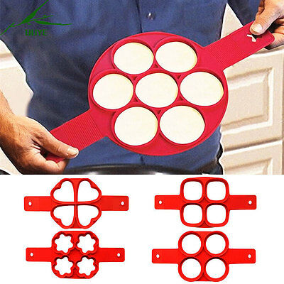 Creative Non Stick Pancake Ring Silicon Pan Flip Breakfast Maker Omelette Tool