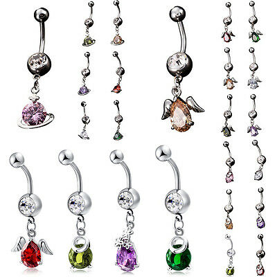 Surgical Steel Belly Bar Navel Button Ring Double Crystal Gem Body Piercing