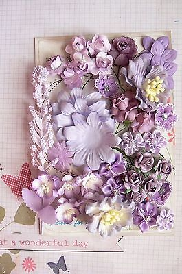 PERIWINKLE WISTERIA PLUM Mixed Paper Satin Silk 36 Pk Flowers 15-50mm across H2