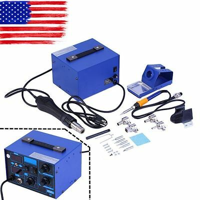 862D+ 2in1 SMD Soldering Iron Hot Air Rework Station Desoldering Repair 110V USA