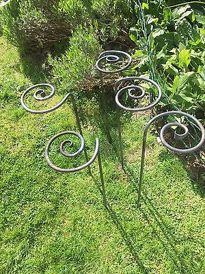 Set of 5 Garden Plant Stakes / Supports - Hand forged