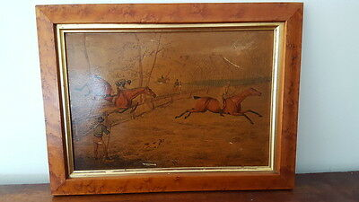 """A Vintage Print on Board Plate 5 """"A Steeple Chase"""" Horse Jumping/Racing Interest"""