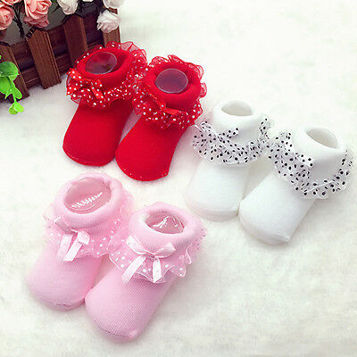 Hot Cute Baby NewBorn Princess Lace Flowers Infant Toddler Soft Cotton Sock 0-6M