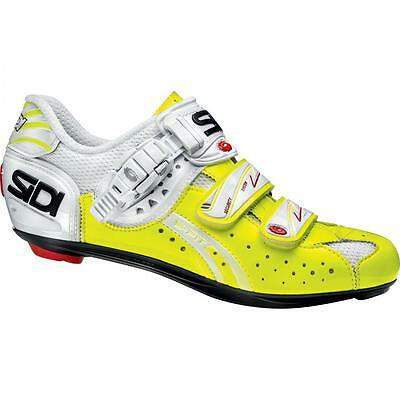 Scarpa Bici Sidi Genius 5-Fit Carbon Vernice Bianco/giallo Fluo Bike Road Tg. 44