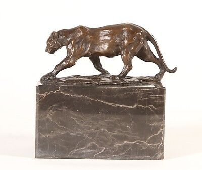 Lioness on a Marble Plinth Real Genuine Bronze Sculpture. Art, Sculpture, Gift.
