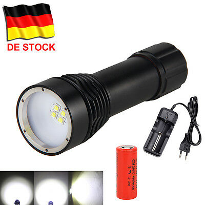 DHL 8000Lm 4x XM-L2 LED Diving Fotografie Video Taschenlampe Tauchlampe bis 100m
