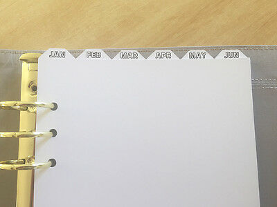 A5 Top Tab Monthly Planner Dividers with Printed Tabs for Filofax, Kikki K
