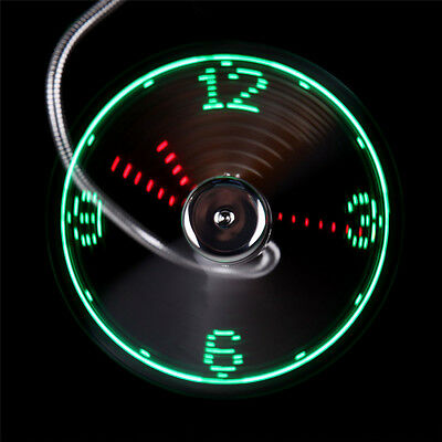 LED Clock Fan Mini USB Powered Cooling Flashing Real Time Display Function CA
