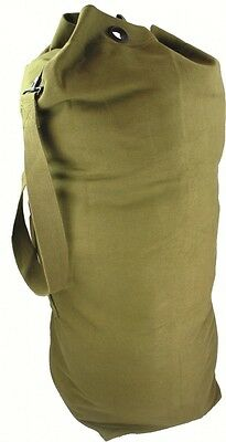 """New Army Style Olive Green Heavy Duty Canvas Kit Bag 89 X31 Cm 12"""" Diameter Base"""
