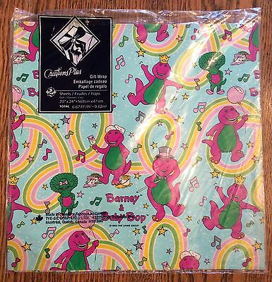 New Vintage 1992 Barney & Baby Bop Flat Gift Wrapping Paper **RARE**