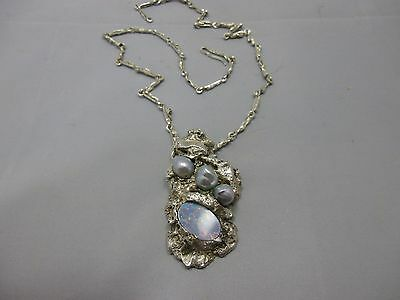 Unikat Collier / Kette Silber 800 punziert Nuggets Perle Opal  Andre` Bell sign.