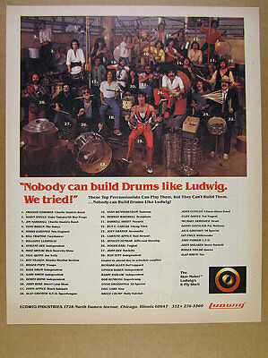 1982 Ludwig Drums 28 Top Drummers Percussionists group photo vintage print Ad