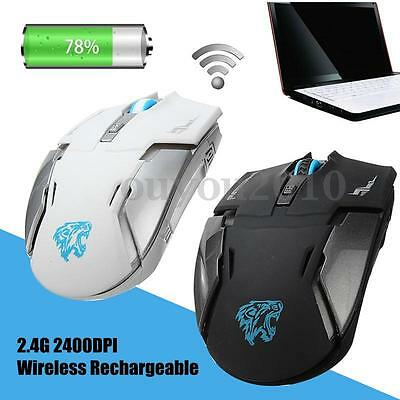 2.4G Wireless Rechargeable 2400DPI 6 Buttons Optical USB Gaming Mouse PC Mice