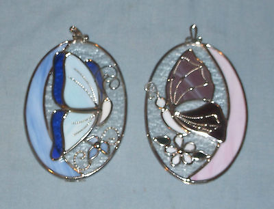 Pair of Stained Glass Butterfly Ornaments Suncatchers Blue & Pink Large Relief