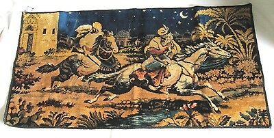 Vintage Tapestry Arabian Knights Princess Horses Italy Decor Hanging 19X38