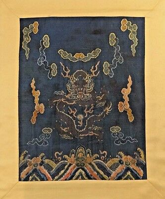 Early 19th C. Qing [Ching] Dynasty Chinese Silk 4-Clawed  Mang Dragon Robe Panel