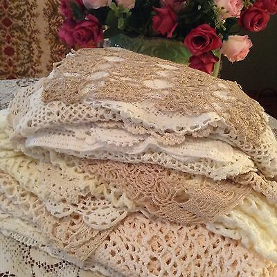 Lot Of 35 Vintage Crochet & Embroidered Doilies Placemats Large Table Runners