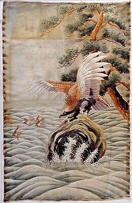 "Silk Embroidered Eagle and Waves Panel, Circa 1900-- 47.5"" x 30.5"""