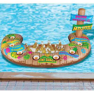 NEW Floating Pool Tiki Beverage Bar w/ 7 Cup Holders & Built In Ice Compartment