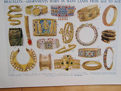 Types of BRACELET old vintage retro print 1920s JEWELLERY inc ANCIENT EGYPTIAN