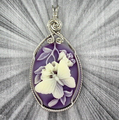 Butterfly Cameo Pendant Necklace In Sterling Silver Wire Wrapped