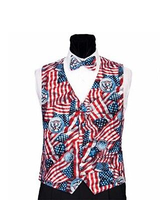 USA American Flags Tuxedo Vest and Bow Tie