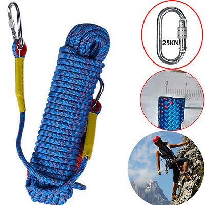 98FT 12KN Rock Climbing Rappelling Abseiling Rope Cords Carving Rescue CA!