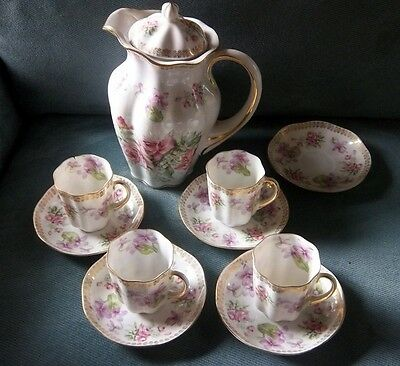 Antique Chocolate Pot Set Pink Roses Violets Gold Gilded 11 Pieces L@@K!!