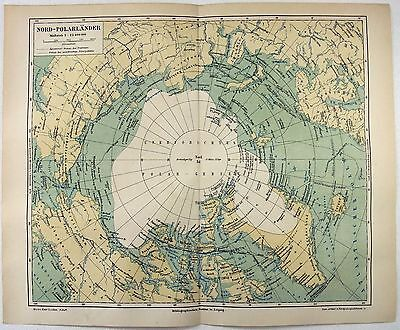 Original 1888 Map of The North Pole & The Arctic Ocean by Meyers