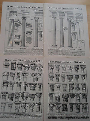 COLUMNS & CAPITALS old vintage retro ARCHITECTURE print inc Ancient Roman Greek