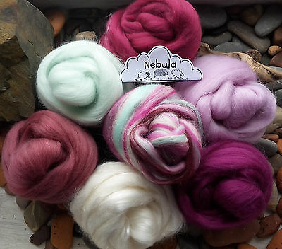Luxury Merino Wool / Tussah Silk roving/ tops / needle felting / spinning 70g