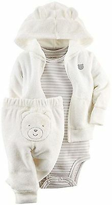 New Carter's 3 Piece Ivory Cardigan Terry Bear Face Rear Pant Set NWT 3m 6m 9m