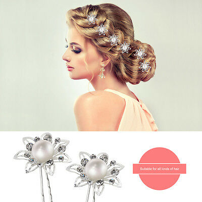 10x Pearl Flower Diamante Crystal Hair Pins Clips for Prom Wedding Bridal Party