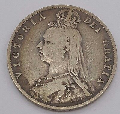 1889 Great Britain Silver 1/2 Crown KM# 764  0.4204 ASW