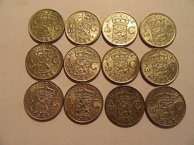 Lot of 12 1942  Netherlands Silver 1/10 G, E Indies